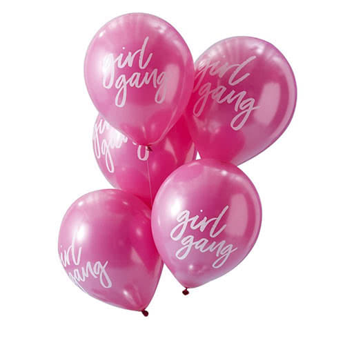 Good Vibes 'Girl Gang' Hot Pink Latex Balloons 30cm - Pack of 10 Product Gallery Image