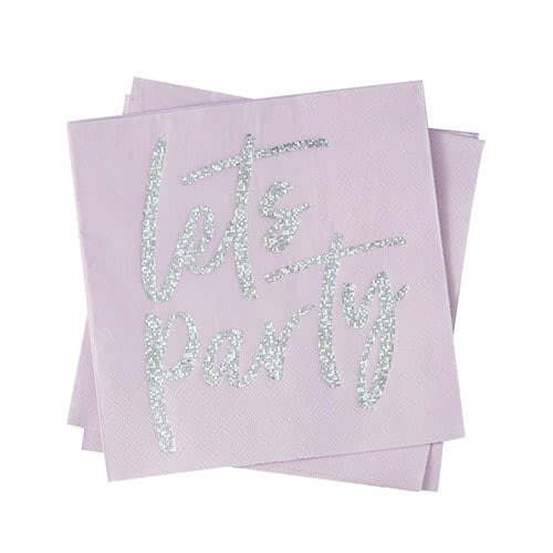 Good Vibes 'Lets Party' Holographic Foiled Pink Paper Napkins 32cm 2Ply - Pack of 16 Gallery Image