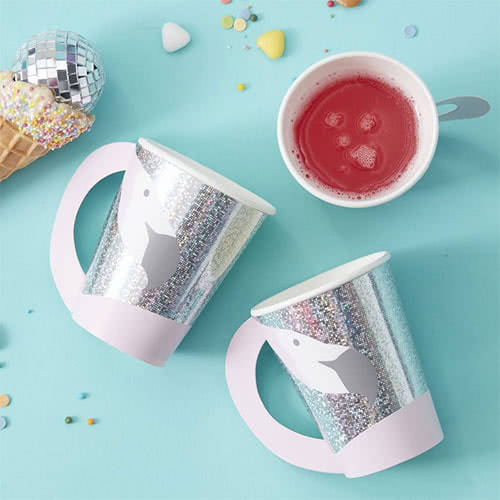 Good Vibes Flamingo Shaped Holographic Paper Cups 260ml - Pack of 8