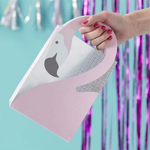 Good Vibes Pink Flamingo Shaped Holographic Paper Party Bags 26cm - Pack of 5