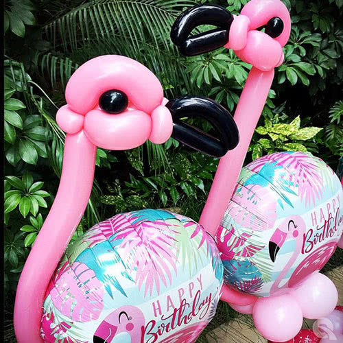 Happy Birthday Pink Flamingo Helium Foil Qualatex Balloon 46cm / 18Inch Product Gallery Image