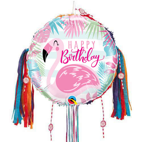 Happy Birthday Pink Flamingo Pull String Pinata