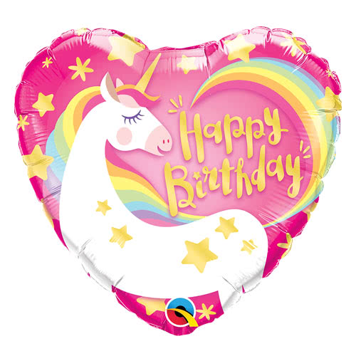 Happy Birthday Unicorn Heart Helium Foil Qualatex Balloon 46cm / 18Inch