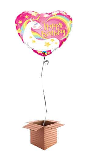 Happy Birthday Unicorn Heart Helium Foil Qualatex Balloon - Inflated Balloon in a Box