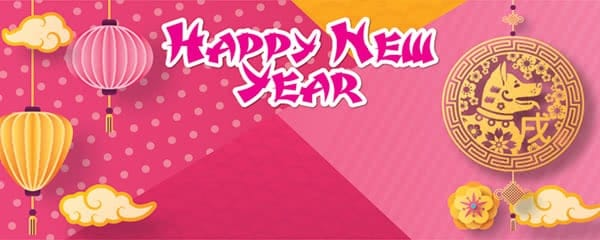 happy chinese new year pink design small personalised banner 4ft x 2ft