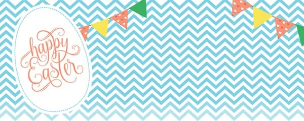 Happy Easter Chevron Design Small Personalised Banner - 4ft x 2ft