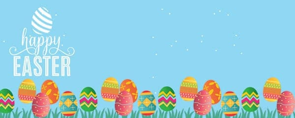 Happy Easter Decorated Eggs Design Medium Personalised Banner - 6ft x 2.25ft