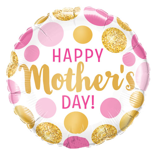 Happy Mother's Day Pink And Gold Dots Helium Foil Balloon 46cm / 18Inch