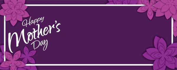 Happy Mothers Day Purple Flowers Design Small Personalised Banner
