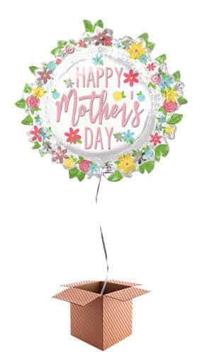 Happy Mother's Day Wreath Helium Foil Giant Balloon - Inflated Balloon in a Box