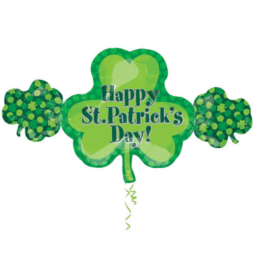 Happy St Patricks Day Shamrock Trio Supershape Helium Foil Balloon 96cm / 38Inch