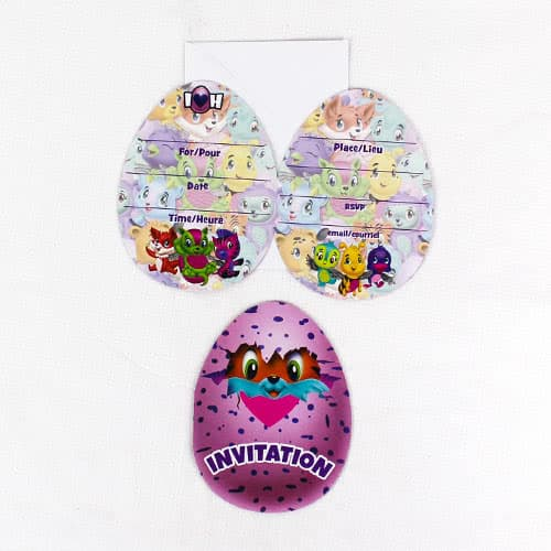 Hatchimals Party Invitations with Envelopes - Pack of 8