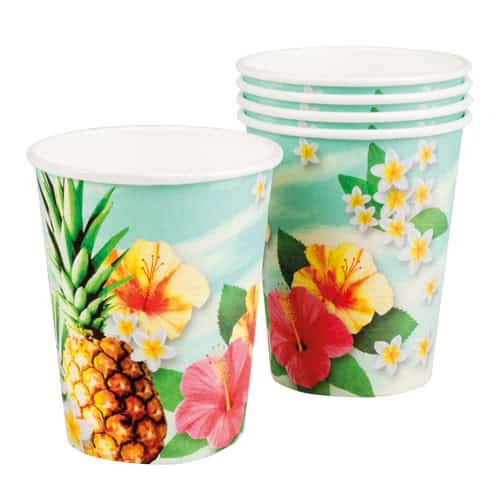 Hawaii Paradise Paper Cups 250ml - Pack of 6