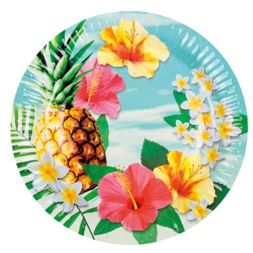 Hawaii Paradise Paper Plates 23cm - Pack of 6