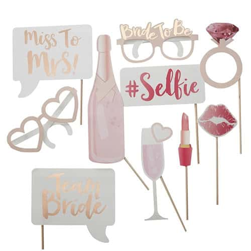Hen Party Team Bride Photo Booth Props - Pack of 10 Product Gallery Image