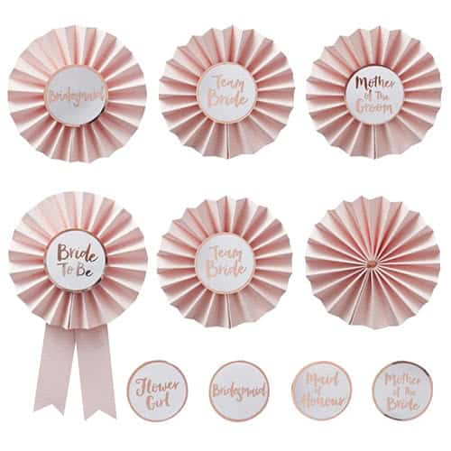 Hen Party Team Bride Rose Gold Foiled Badges - Pack of 6 Product Gallery Image