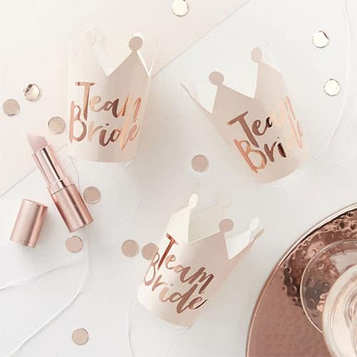 hen-party-team-bride-rose-gold-foiled-mini-crowns-pack-of-5-product-image