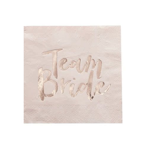 Hen Party Team Bride Rose Gold Foiled Napkins 33cm 3Ply - Pack of 20 Gallery Image