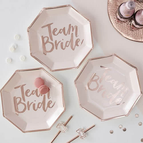 Hen Party Team Bride Rose Gold Foiled Paper Plates - Pack of 8