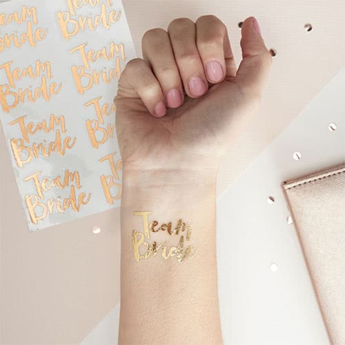 Hen Party Team Bride Rose Gold Temporary Tattoos - Pack of 16