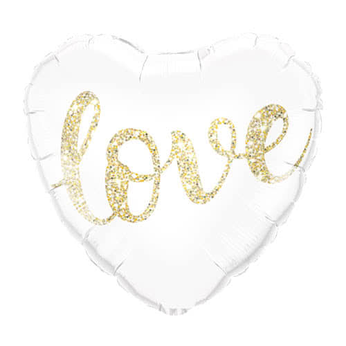 Love Glitter Gold Helium Foil Qualatex Balloon 46cm / 18Inch Product Image