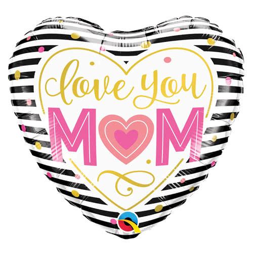 Love You Mom Heart Helium Foil Qualatex Balloon 46cm / 18Inch