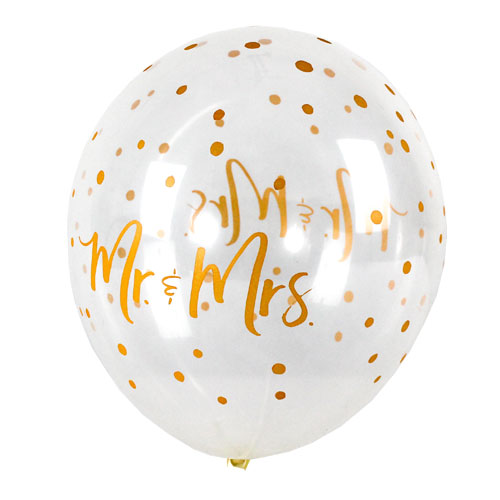 Mr & Mrs Dots Clear Latex Helium Qualatex Balloons 28cm / 11Inch - Pack of 10 Product Gallery Image