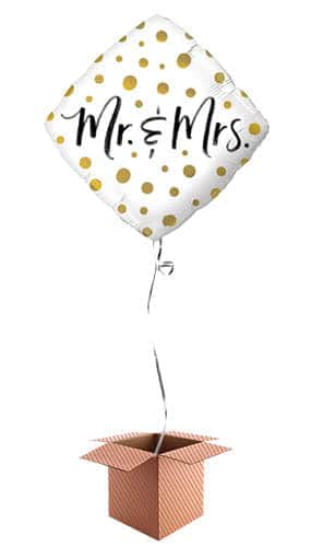 Mr & Mrs Gold Dots Helium Foil Qualatex Balloon - Inflated Qualatex Balloon in a Box