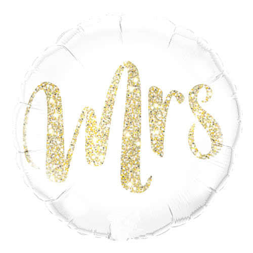 Mrs Glitter Gold Helium Foil Qualatex Balloon 46cm / 18Inch