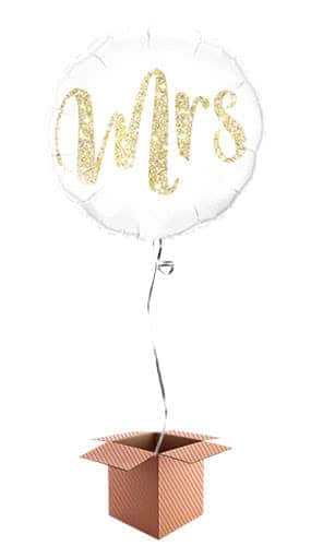 Mrs Glitter Gold Helium Foil Qualatex Balloon - Inflated Qualatex Balloon in a Box