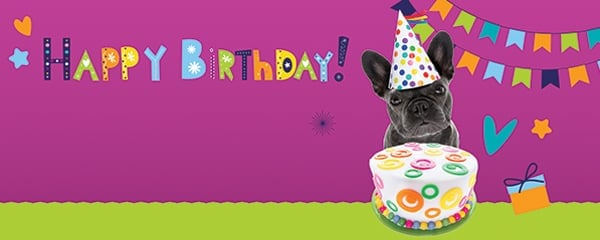Happy Birthday Puppy With Cake Design Medium Personalised Banner - 6ft x 2.25ft