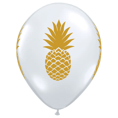 Pineapple Clear Latex Helium Qualatex Balloons 28cm / 11Inch - Pack of 10 Product Gallery Image