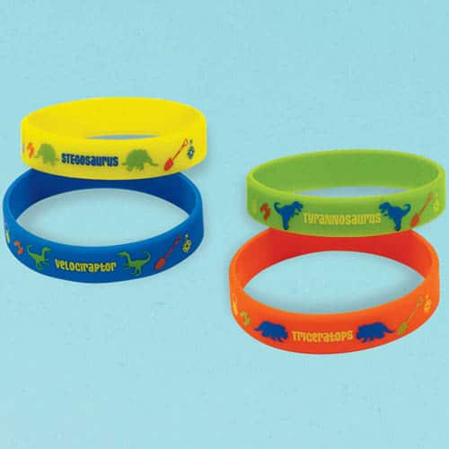 Prehistoric Party Rubber Bracelets - Pack of 4