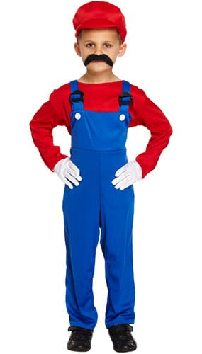 Red Super Workman Children Fancy Dress Costume 10-12 Years - Large
