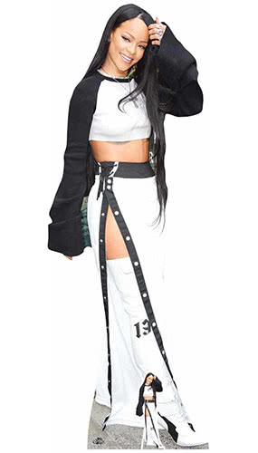 Rihanna Black and White Lifesize Cardboard Cutout 174cm Product Gallery Image