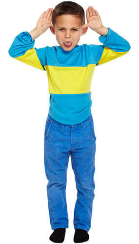 Blue And Yellow Striped Jumper Children Fancy Dress Costume 7-9 Years - Medium