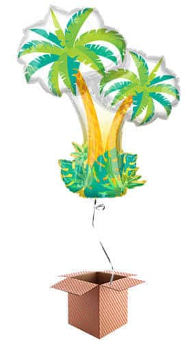 Tropical Palm Trees Supershape Foil Helium Balloon - Inflated Balloon in a Box Product Image