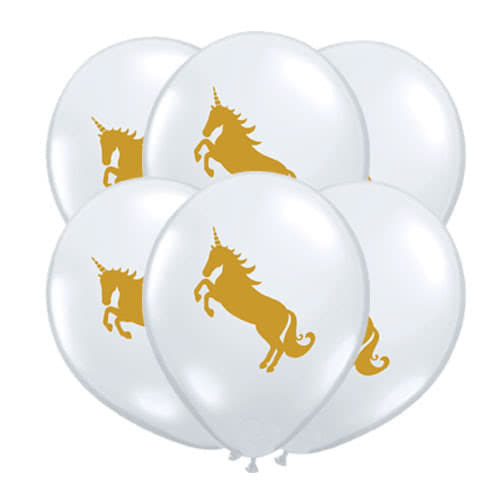 Unicorn Clear Latex Helium Qualatex Balloons 28cm / 11Inch - Pack of 10 Product Gallery Image