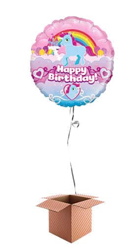 Unicorn Happy Birthday Holographic Round Foil Balloon - Inflated Balloon in a Box