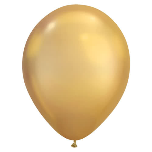 Chrome Gold Latex Helium Qualatex Balloons 28cm / 11Inch - Pack of 100 Product Gallery Image