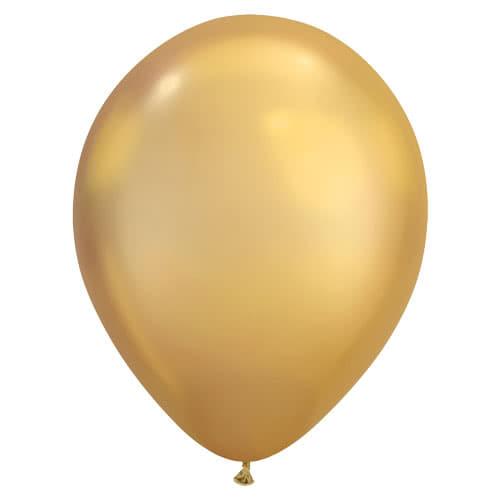 Chrome Gold Latex Helium Qualatex Balloon 28cm / 11Inch
