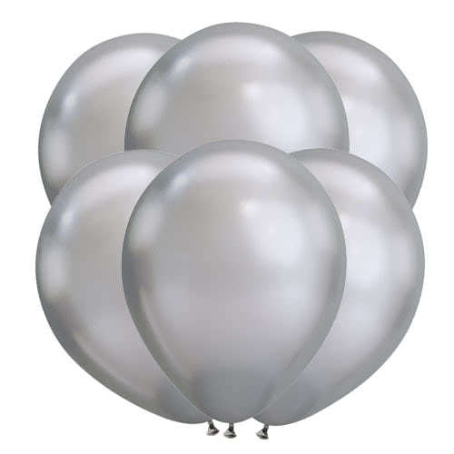 Chrome Silver Latex Qualatex Balloons 28cm / 11 in - Pack of 100 Product Gallery Image