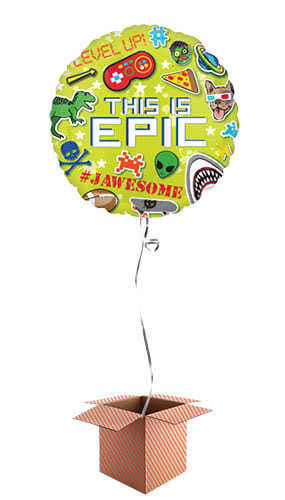 Epic Party Helium Foil Balloon - Inflated Balloon in a Box