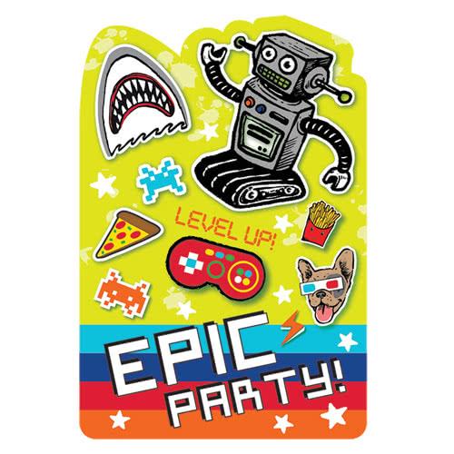 Epic Party Invitations With Envelopes - Pack of 8