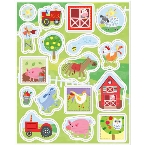 Farm Friends Party Sticker Sheets - Pack of 68