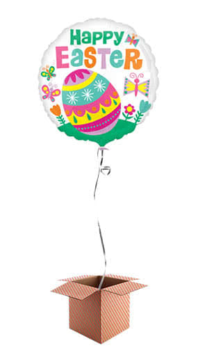 Happy Easter Big Egg Helium Foil Balloon - Inflated Balloon in a Box