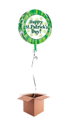 Happy St Patricks Day Orbz Foil Helium Balloon - Inflated Balloon in a Box Product Gallery Image