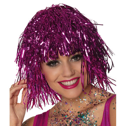 Metallic Pink Tinsel Wig