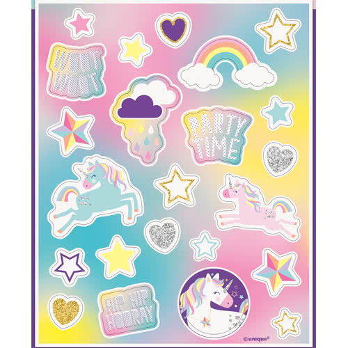 Party Time Unicorn Sticker Sheets - Pack of 92