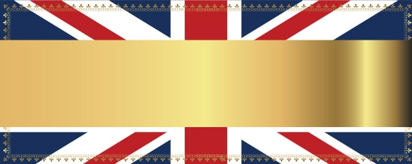 Union Jack Gold Design Small Personalised Banner - 4ft x 2ft
